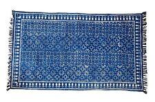 3x5 Ft Large Area Rug Cotton Carpet Floor Mat Block Print Runner Indigo Blue Rug