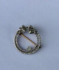 Vintage Round Pin With Diamond, 14k Gold