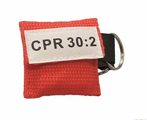 3 Red CPR Face Shield Pocket Mask with Keychain imprinted CPR 30:2