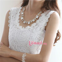 Sexy Women Lace Crochet Vest Sleeveless Black/White Tank Top Shirt Plus Size