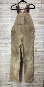 Carhartt Overalls Thrashed Made In The USA 36x32 Duck Canvas Brown Streetwear