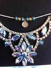 Topshop Diamanté Necklace Blue Flower Crystal Choker New