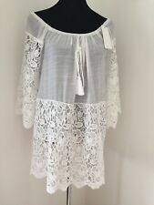White Lace Bardot Gypsy Top Ornate Cool Long Oversized Soft One Size New Lovely