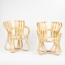 Pair of Frank Gehry for Knoll Cross Check Arm Chairs Maple 2001