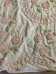 "White/Pink/Green Chenille QUEEN SIZE Bedspread w/29"" Turndown Pastel Flowers"