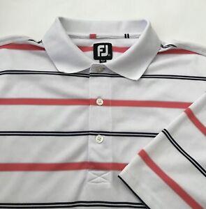 FootJoy FJ Men's Stripe Performance Golf Polo Shirt White Pink Black XL