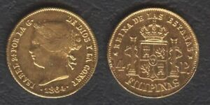 1864 Spanish Philippine 4 Pesos Reyna ISABEL II Filipinas GOLD Coin Soldered