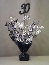 "2 Metallic Black & Silver 30th Anniversary or Birthday Balloon Weights 15"" Tall"