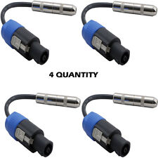 """Pyle 12 Ga Compatible Speakon Connector Male to 1/4"""" Female Cable Adapter QTY 4"""