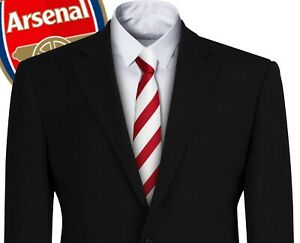 Mens Tie Arsenal Broad Red + White Striped Tie Football Club Reds The Gunners FC