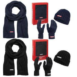 Lambretta Damen Herren Winterset Schal Mütze Handschuhe Set WA6697 schwarz blau