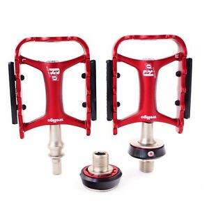 "Wellgo QRD-II M-111 Quick Released 9/16"" Road Folding Bike Pedal - Red"