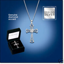 Sterling Silver Diamond Accent Cross Necklace-Crucifix