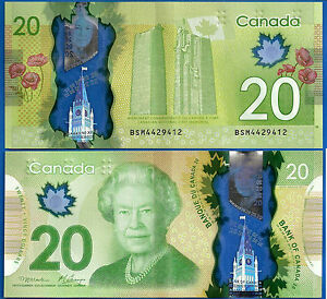 Canada 20 Dollars 2012 Prefix BSM Monument Flower Queen Free Shipping World