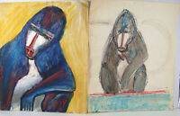 Manny Blanc signed 2 Painting Paper MANDRILL Baboon '73