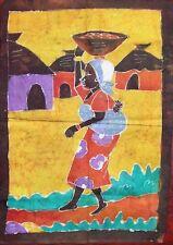 Batik Afrique de Cote d'Ivoire femme villageoise à la calebasse