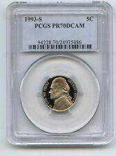 1993 S 5C Jefferson Nickel Proof PCGS PR70DCAM