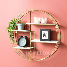 NEW Gold Metal & White Wood Shelving Shelf Rack Storage Display Wall Home Decor