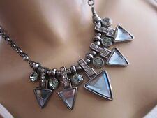 Strass Damen Collier Damen Hals Kette kurz Modekette Kristall Silber Schwarz k99