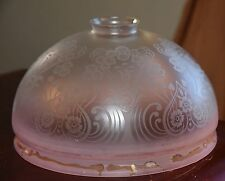 "VINTAGE PALE PINK SATIN ETCHED GLASS LAMP HURRICANE SHADE ART NOUVEAU 9"" W 5"" H"