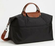 Longchamp Expandable Le Pliage Travel Bag Duffel Tote ~NIP~ Black