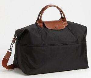 Longchamp Expandable Le Pliage Travel Bag Duffel Tote ~NIP~ Black