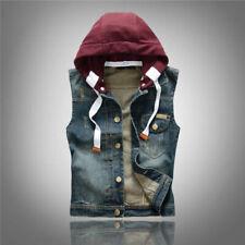 Men Denim Vest Jeans Biker Jacket Cowboy Sleeveless Waistcoat Hooded Detachable