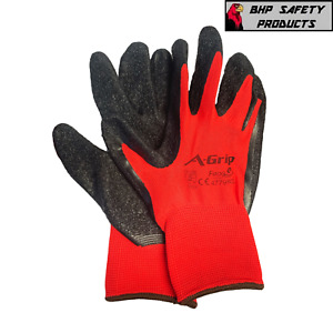 12 Pair A-Grip Red Safety Work Gloves Latex Coated Grip Cut Resistant