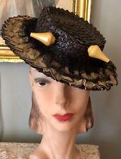 Vintage 1940's Brown Straw Tilt Hat W/ Pleated Ruffle Brim, Net, & Hatpin