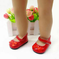 Handmade Red Flats Shoes w/Bow For 18 inch General P Doll Girl Clothes A6X7 M4H8