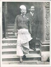 1942 Smiling Burma Premier U Saw With Adviser Tin Tut Press Photo