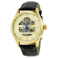 Brooklyn Bridgewater Skeleton Mens Automatic Gold Tone Dial Mens Watch