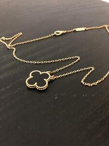 Authentic Van Cleef & Arpels Vintage Alhambra 18K Gold Necklace Pendant