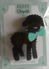 Peppy Chapette black lamb with bow Brooch New Condition very sweet