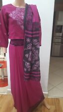 Asian Sari Embroidered Deep Red/Magenta Free Size Approximately UK Size 10