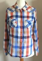M&S Woman Size 8 Ladies Long Sleeve Multicoloured Check Shirt Top