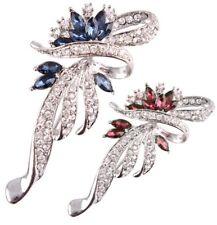 Swirl Rhinestone Crystal  Brooch Pin Bridal Prom Party Flower Scarf Safety