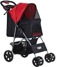 Foldable 4 Wheels Pet Strollers Dog Stroller Traveling Cart W/ Locking Brakes Us