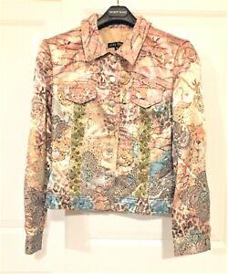 BOHO CHIC Embellished Tan Brown Aqua Gold Glitter Blazer Jacket Size 6