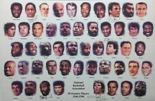 Larry Bird George Gervin +4 Signed NBA 50 Greatest Players 11x17 Lithograph