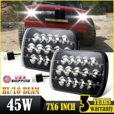 Black 7x6 Pair LED Headlights 1986-1995 Jeep Wrangler YJ 1984-2001 Cherokee XJ