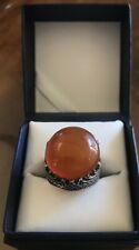 Men Ring STERLING SILVER 925 Natural  Red AGATE AQEEQ Size 11.5