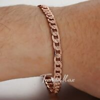 "7-9"" MENS WOMENS Rose Gold Filled GF Chain Bracelet 5mm Hammered Curb Cuban Link"