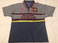 """Manchester United 1995-96 Sharp Viewcam Boys 32"""" Chest Football Shirt Jersey"""