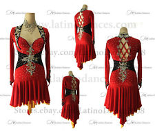 Tailor-made  Latin Rumba Salsa Dance Dress With high Quality Rhinestones. M465