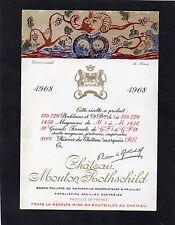 PAUILLAC 1EGCC ETIQUETTE CHATEAU MOUTON ROTHSCHILD 1968 37.5CL DECOREE§12/08/16§
