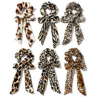 Soft Velvet Leopard Print Hair Scarf Ponytail Knotted Bow Streamers Scrunchies G