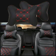 2x Car Rest Cushion Headrest Pillow Leather Bone Shape Mat Pad Neck Holder