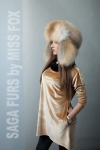 Golden island fox fur traper hat L/XL. SagaFurs