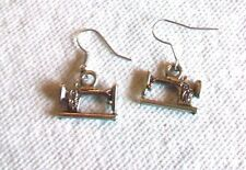 SEWING MACHINE SILVER TONE DANGLE EARRINGS